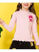 baratos Suéteres & Cardigans para Meninas-Infantil Para Meninas Básico Diário Sólido Patchwork Manga Longa Padrão Algodão Suéter & Cardigan Rosa
