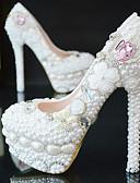 זול סרבלים ואוברולים לנשים-בגדי ריקוד נשים נעלי סירה PU קיץ & אביב נעלי חתונה עקב סטילטו בוהן עגולה ריינסטון / קריסטל / פנינים לבן / מסיבה וערב