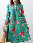 cheap Print Dresses-Women's Daily A Line Dress - Floral Print Stand Spring Green Navy Blue L XL XXL