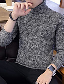 povoljno Muške majice i potkošulje-Muškarci Izlasci Jednobojni Dugih rukava Slim Regularna Pullover, Dolčevita Crn / Sive boje / Žutomrk XL / XXL / XXXL