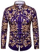 abordables Chemises Homme-Chemise Homme, Fleur - Coton Imprimé Soirée Rétro Vintage / Bohème / Chic de Rue Col Officier Violet XL / Manches Longues