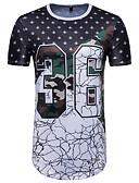 cheap Men's Tees & Tank Tops-Men's Sports Active / Basic Cotton Slim T-shirt - Geometric Print Round Neck Black L / Short Sleeve / Summer / Long