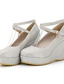 cheap Bodysuit-Women's Comfort Shoes Denim / Nappa Leather Fall Heels Wedge Heel White / Black / Red