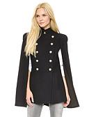 ieftine Paltoane Trench Femei-Pentru femei Zilnic Regular Palton, Mată Guler Peter Pan Manșon Lung In / Poliester Negru L / XL / XXL