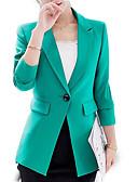 abordables Robes Imprimées-Femme Travail Basique Printemps / Automne Normal Blazer, Couleur Pleine Revers en Pointe Manches Longues Polyester Vert / Noir L / XL / XXL / Mince