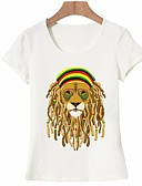 baratos Camisetas Femininas-Mulheres Camiseta - Para Noite Básico Estampado, Animal Algodão Branco L
