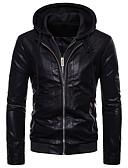 cheap Men's Jackets & Coats-Men's Daily Basic Fall / Winter Regular Leather Jacket, Solid Colored V Neck Sleeveless / Long Sleeve PU Black L / XL / XXL