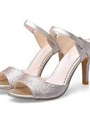 ieftine Tricou-Pentru femei Sintetice Vară Casual Sandale Toc Stilat Auriu / Negru / Argintiu