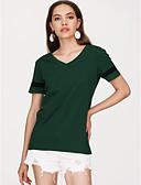 tanie T-shirt-T-shirt Damskie Bawełna W serek Luźna - Solidne kolory