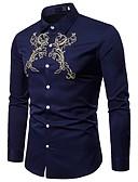 baratos Camisas Masculinas-Homens Camisa Social Vintage / Boho Bordado, Xadrez