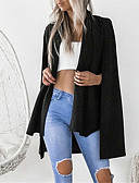 cheap Women's Coats & Trench Coats-Women's Daily Street chic Fall & Winter Regular Cloak / Capes, Solid Colored Rolled collar Long Sleeve Polyester Cut Out Black / Pink M / L / XL
