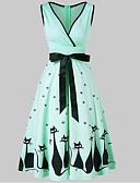ieftine Dresses For Date-Pentru femei De Bază Swing Rochie - Funde, Animal Midi Pisica