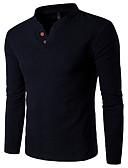 お買い得  メンズシャツ-男性用 シャツ ベーシック スタンドカラー スリム ソリッド リネン ネイビーブルー XXXL / 長袖 / 冬