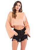 ieftine Pantaloni de Damă-Pentru femei Zilnic Activ Mată Manșon Lung Sleeve Flare Zvelt Scurt Plover, De Pe Umăr Primăvară / Toamnă Bumbac Kaki M / L / XL
