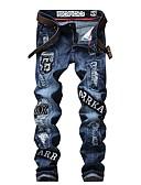 ieftine Pantaloni Bărbați si Pantaloni Scurți-Bărbați Șic Stradă Bumbac Zvelt Blugi Pantaloni - Scrisă Eliminat / Ruched / Găurite Albastru piscină / Club