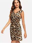 ieftine Pantaloni de Damă-Pentru femei Zvelt Pantaloni - Leopard Maro / În V