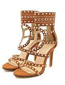 halpa Minihameet-Naisten Sandaalit Stilettikorko PU Comfort Kesä Purppura / Ruskea / Punainen
