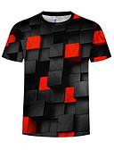 baratos Camisetas & Regatas Masculinas-Homens Camiseta Activo / Básico Estampado, Geométrica / Estampa Colorida