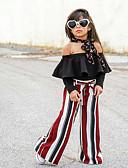 זול בגדי ים לבנות-סט של בגדים כותנה שרוול ארוך שרוכים לכל האורך פסים סגנון רחוב בנות ילדים