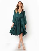povoljno Dresses For Date-Žene Izlasci Swing kroj Haljina - Zamotajte, Jednobojni V izrez Do koljena / Proljeće / Jesen / Saten