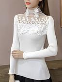 ieftine Tricou-Pentru femei Zilnic / Sfârșit de săptămână Mată Manșon Lung Regular Plover, Guler Pe Gât Negru / Roz Îmbujorat / Gri Mărime unică