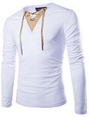 お買い得  メンズフーディー&スウェットシャツ-男性用 Tシャツ Vネック カラーブロック ブラック L / 長袖