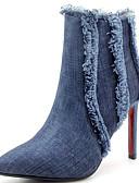 povoljno Bikini i kupaći 2017-Žene Cowboy / Western Boots Traper Jesen zima Čizme Stiletto potpetica Krakova Toe Čizme gležnjače / do gležnja S resicama Crn / Plava / Zabava i večer