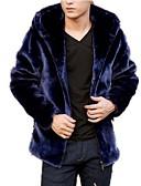 זול גברים-ג'קטים ומעילים-אחיד עם קפוצ'ון מידות גדולות מעיל פרווה - בגדי ריקוד גברים דמוי פרווה / שרוול ארוך
