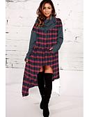 ieftine Jachete & Blazer Damă-Pentru femei De Bază Mărime Plus Size Bumbac Larg Pantaloni - Plisat Negru & Roșu Roșu-aprins / Lung