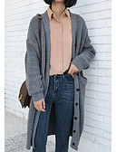 cheap Women's Sweaters-Women's Long Sleeve Loose Long Cardigan - Solid Colored V Neck