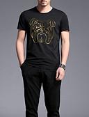 ieftine Maieu & Tricouri Bărbați-Bărbați Rotund Tricou Bumbac Animal / Manșon scurt