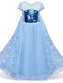 Χαμηλού Κόστους Φορέματα για κορίτσια-Παιδιά / Νήπιο Κοριτσίστικα Βίντατζ / Ενεργό Πάρτι / Αργίες Χιονονιφάδα Πούλιες / Επίπεδα / Δίχτυ Κοντομάνικο Μίντι Βαμβάκι / Πολυεστέρας Φόρεμα Θαλασσί