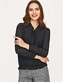 billige Bluser-Skjortekrage Bluse Dame Aktiv Ferie / Snøring