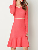 tanie Sukienki-Damskie Podstawowy Linia A / Pochwa Sukienka - Solidne kolory, Falbana Do kolan