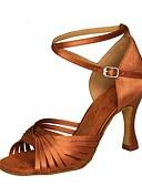 povoljno Stare svjetske nošnje-Žene Plesne cipele Saten Cipele za latino plesove Sandale / Štikle Deblja visoka potpetica Moguće personalizirati Crn / Braon / Crvena / Seksi blagdanski kostimi / Vježbanje