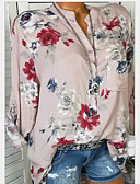 baratos Suéteres de Mulher-Mulheres Camisa Social Floral Algodão Decote V