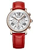ieftine Quartz-MEGIR Pentru femei Ceas Elegant  Ceas de Mână Japoneză Quartz 30 m Rezistent la Apă Calendar Cronograf Piele Autentică Bandă Analog Lux Modă Alb / Roșu - Alb Rosu