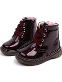 cheap Baby Girls' Clothing Sets-Girls' Shoes Patent Leather / PU(Polyurethane) Spring &  Fall / Winter Comfort / Combat Boots Boots Walking Shoes Lace-up / Split Joint for Kids White / Wine / Booties / Ankle Boots
