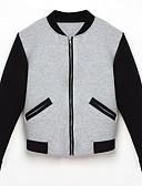 זול Jackets-קולור בלוק עומד ג'קט - בגדי ריקוד נשים