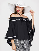 baratos Camisetas Femininas-Mulheres Camiseta Sólido Algodão Ombro a Ombro / Frufru