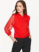 billige Bluser-Skjortekrage Bluse Dame - Ensfarget