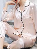 billige Bukser-Dame Firkantet hals Dress Pyjamas - Ensfarget