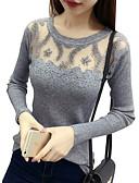 povoljno Majica s rukavima-Žene Dnevno Jednobojni Dugih rukava Slim Regularna Pullover, Okrugli izrez Crn / Blushing Pink / Sive boje One-Size