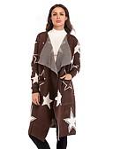 ieftine Pantaloni de Damă-Pentru femei Zilnic Activ Geometric Manșon Lung Zvelt Lung Cardigan, Guler Cămașă Toamnă / Iarnă Bumbac Maro M / L / XL
