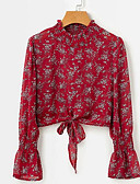 ieftine Bluză-Pentru femei Stand Bluză Ieșire Floral