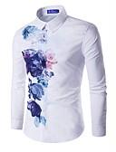 رخيصةأون قمصان رجالي-رجالي قطن قميص نحيل ورد أبيض L / كم طويل