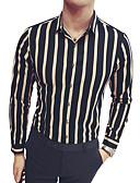 זול חולצות לגברים-פסים / קולור בלוק צווארון קלאסי רזה חולצה - בגדי ריקוד גברים / שרוול ארוך
