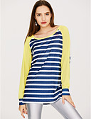 cheap Women's T-shirts-Women's Active T-shirt - Striped / Color Block / Spring / Fall / Fine Stripe