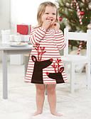 זול שמלות לבנות-שמלה מעל הברך שרוולים קצרים פסים בית הספר / חגים וינטאג' / מתוק בנות ילדים / פעוטות