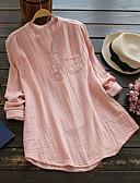 abordables Camisas para Mujer-Mujer Tallas Grandes Algodón Camisa, Escote Chino Delgado Un Color